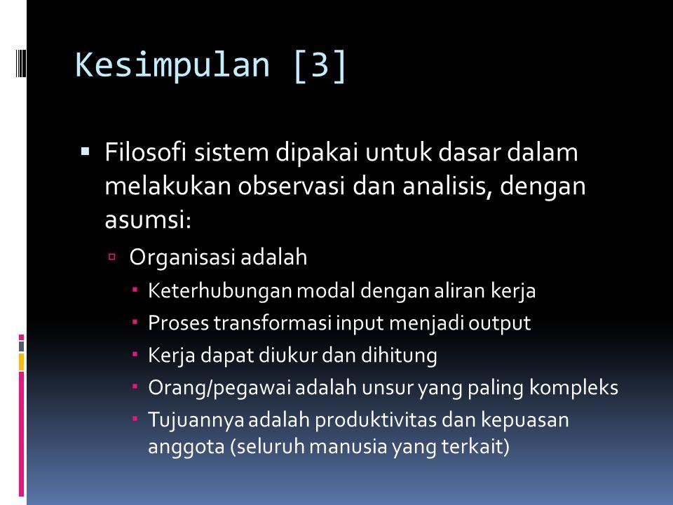 Kesimpulan [3] Filosofi sistem dipakai untuk dasar dalam melakukan observasi dan analisis, dengan asumsi: